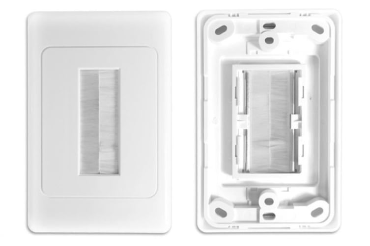 Wall Plate Wallplate W/Brush Outlet Cover For Cable Lead Organiser - White