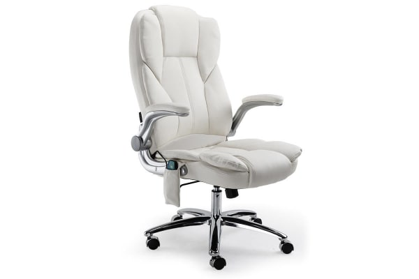 AVANTE 8 Point Massage Executive Office Computer Chair PU Leather Remote - White