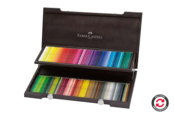 Refurbished Faber-Castell Polychromos Pencils - 120 Assorted Colours (Wood Case)