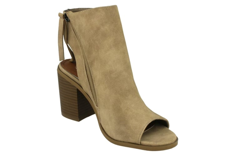 Spot On Womens/Ladies Open Ankle Boots With Tassels (Beige) (UK Size 5)