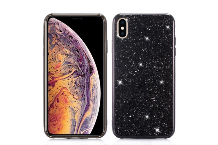 For iPhone XR Case Black Glitter Powder Protective Cover Flexible Body