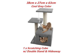 Grey Cat Scratching Tower Toy Tree Hideaway House Post Sisal Pole Scratcher Platform