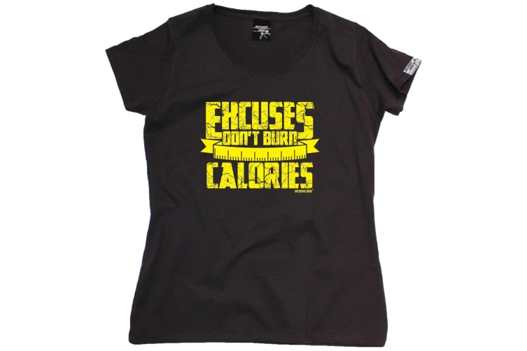 Personal Best Running Tee - Excuses Dont Burn Calories - (XX-Large Black Womens T Shirt)