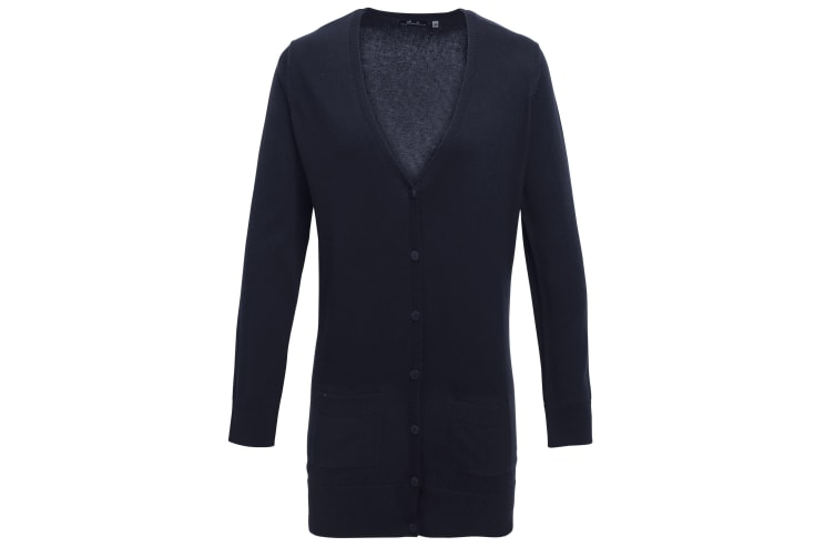 Premier Womens/Ladies Longline V Neck Knitted Cardigan (Navy) (10)