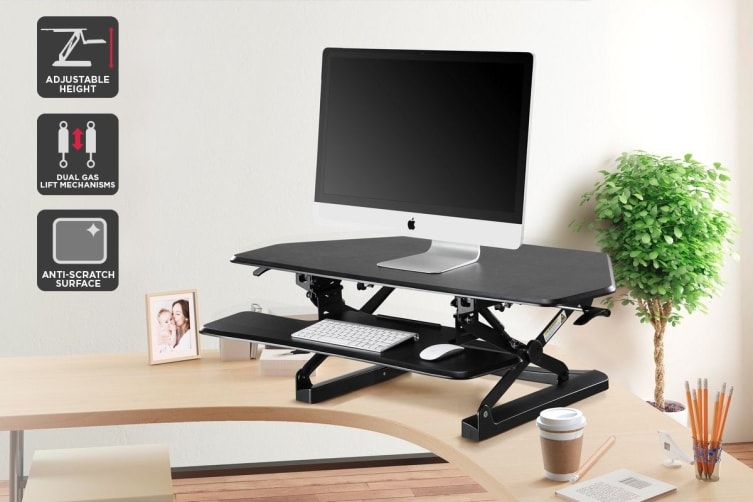 Ergolux Duopro Corner Height Adjustable Sit Stand Desk Riser (Black)