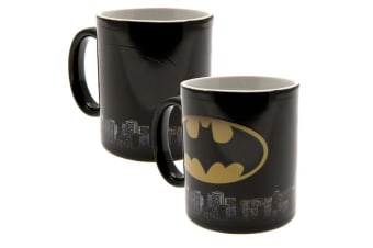 Batman Logo Heat Changing Ceramic Mug (Black/White/Yellow) (9 x 8cm)