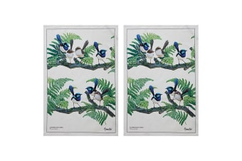 2x Maxwell & Williams Birdsong Kitchen Cleaning Dishcloth Cotton Tea Towel Wren