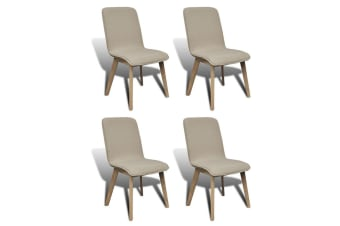 vidaXL Dining Chairs 4 pcs Beige Fabric and Solid Oak Wood