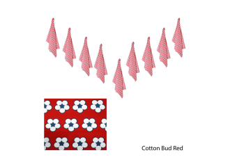 Set of 9 Cotton Bud Tea Towels Red