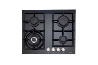 Euro Cooktop Gas 600mm Black Glass  ES60GFDBL