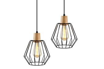 Artiss 2x Wood Pendant Light Modern Ceiling Lighting Industrial Wire Lamp Bar