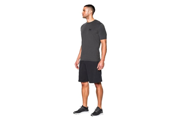 Under Armour Men's CC Lockup Short Sleeve Tee (Carbon Heather/Black, Size Extra Large)