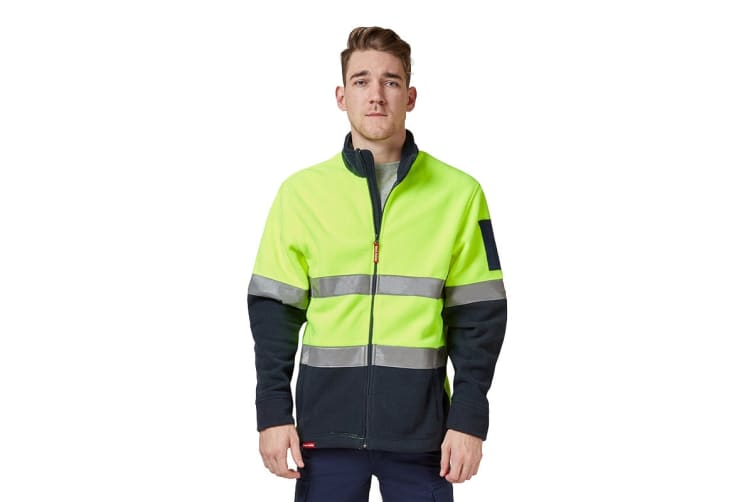 Hard Yakka Men's Hi Vis Polar Fleece Jumper With Tape (Yellow/Navy, Size M)