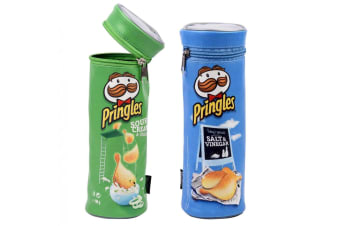 2pc Helix Pringles Pencil Case/Pouch School/Art Drawing Pens Organiser GRN/BL