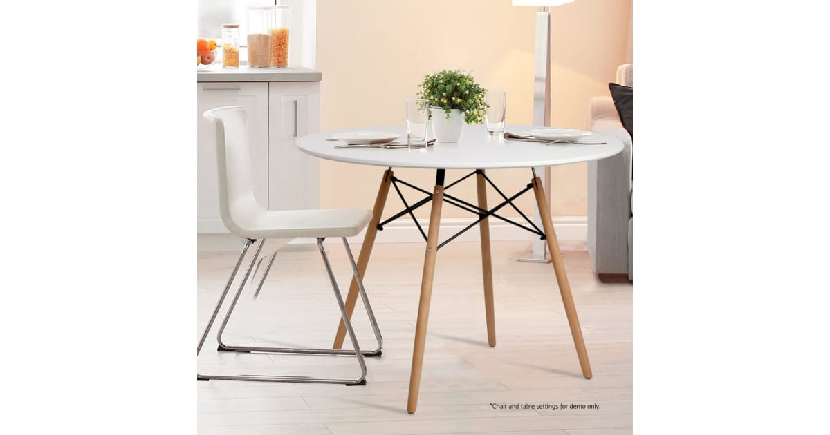 Artiss 4 Seater Round Replica Eames Dsw Eiffel Dining Table Kitchen Timber White Dining Tables Chairs