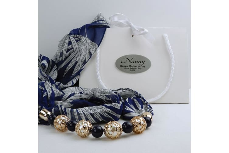 Navy Chiffon Scarf with Necklace in Personalised Box - Nan
