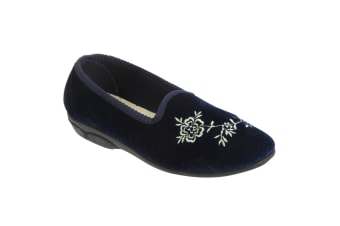 Zedzzz Womens/Ladies Celia Embroidered Tab Slippers (Navy Blue)