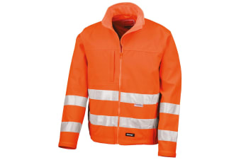 Result Core Mens High-Visibility Winter Blouson Softshell Jacket (Water Resistant & Windproof) (Pack of 2) (Fluorescent Orange) (L)