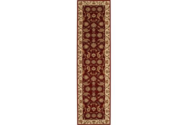 Stunning Formal Floral Design Rug Red 300x80cm