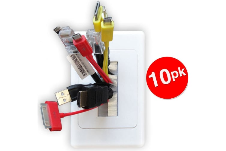 10X Wall Plate Wallplate W/Brush Outlet Cover For Cable Lead Organiser - White