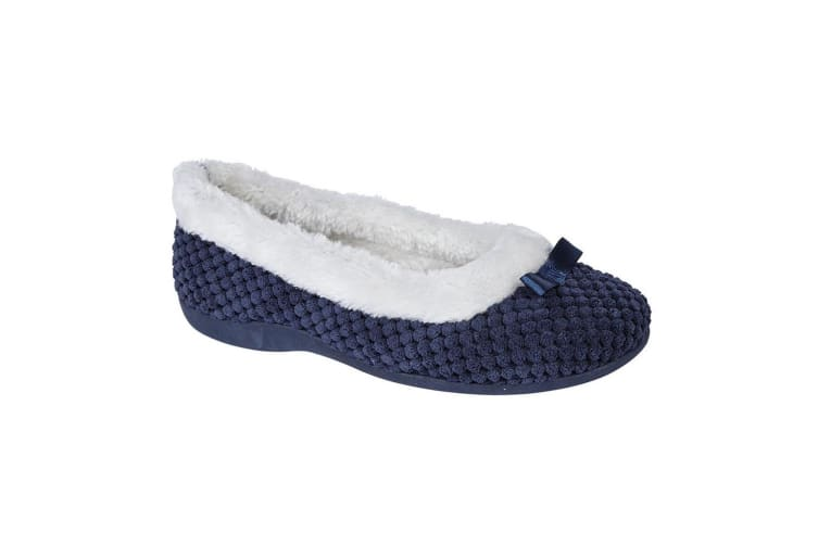 Sleepers Womens/Ladies Karina Faux Fur Memory Foam Slippers (Navy) (6 UK)