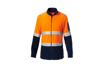 Hard Yakka Men's Hi Vis Polar Fleece Jumper With Tape (Orange/Navy, Size 6XL)