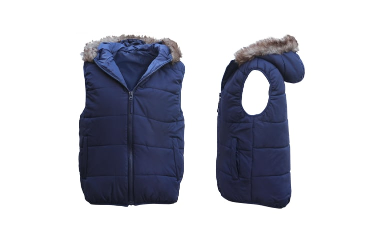 Unisex Women's Men's Faux Fur Hooded Puffy Puffer Sleeveless Vest Quilted Jacket - Navy