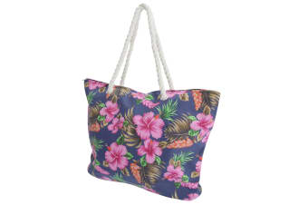 FLOSO Womens/Ladies Floral Patterned Canvas Summer Handbag (Navy) (One Size)
