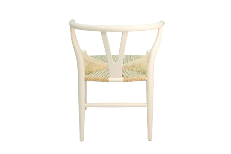 Replica Hans Wegner Wishbone Chair | White Frame & Natural Rattan Seat