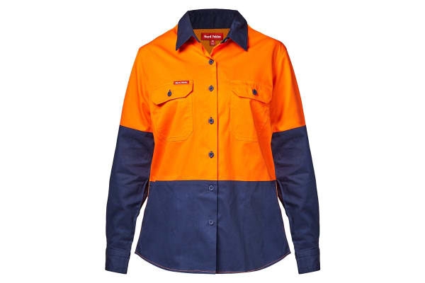 Hard Yakka Women's Koolgear Hi-Vis Long Sleeve Shirt (Orange/Navy, Size 22)