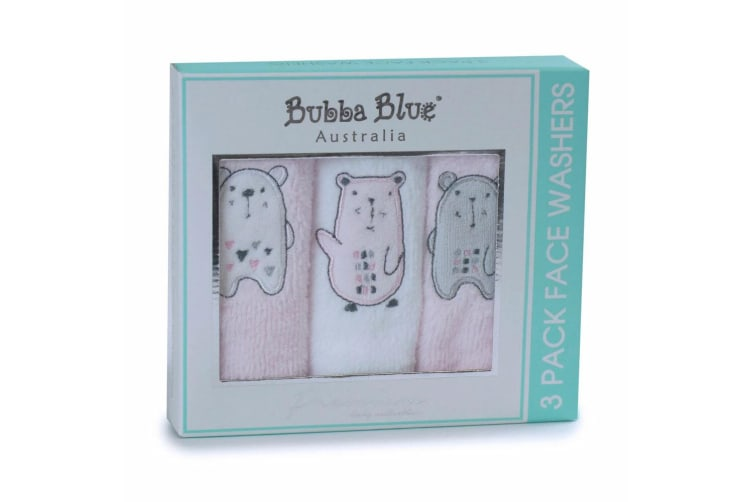 6pc Bubba Blue Beary Sweet Face Cotton Wipe/Wash Cloth Washers Baby 0m+ Pink/WHT