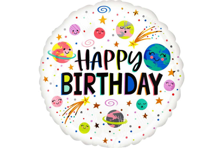 Anagram Planets And Stars Happy Birthday Round Foil Balloon (White/Multicoloured) (18in)