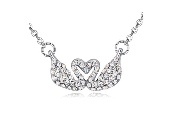Couple Swan Necklace w/Swarovski Crystals-White Gold/Clear
