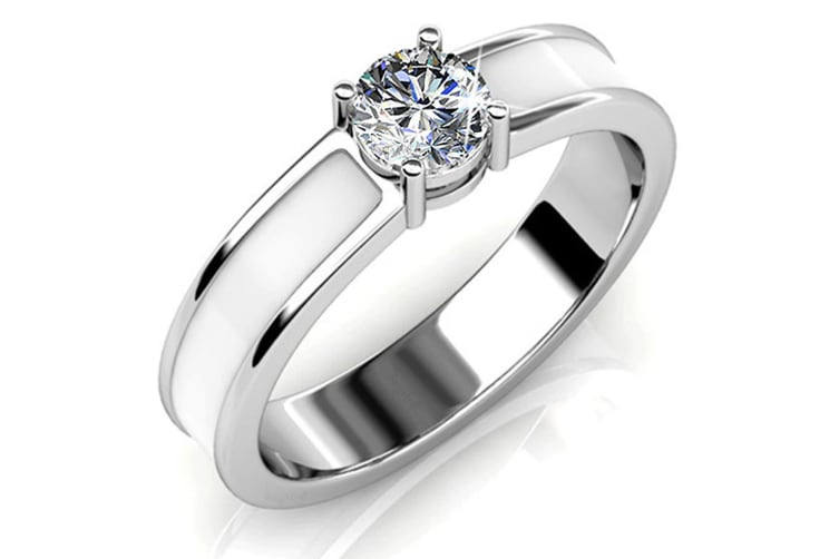 Marian Solitaire Ring Embellished with Swarovski crystals Size US 9