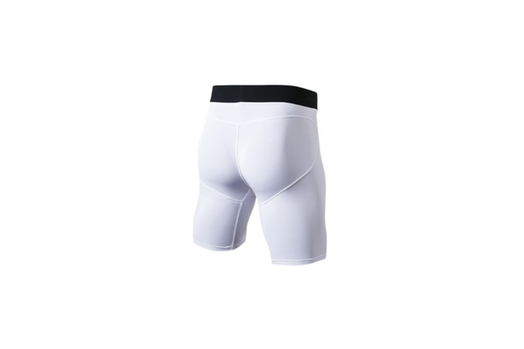 Men'S Compression Shorts Baselayer Cool Dry Sports Tights - White White XS
