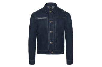 B&C Denim B&C Mens Frame Denim Trucker Jacket (Deep Blue Denim)