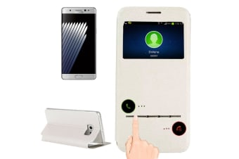 For Samsung Galaxy Note FE Case Smart Leather Caller ID Display Cover White
