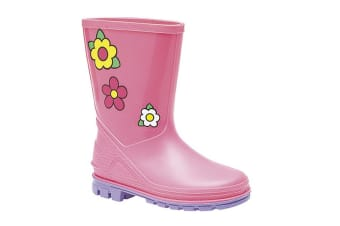 StormWells Girls Puddle Floral Wellingtons (Pink/Lilac) (3 UK Junior)