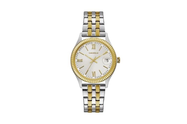 Caravelle Ladies' 32mm Analog Quartz Watch with Date - Two-Tone Stainless Steel/White (45M112)