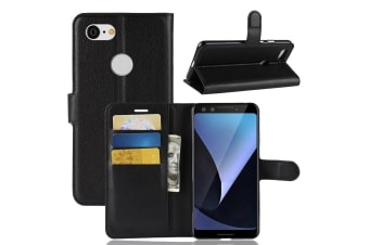 For Google Pixel 3 Leather Wallet Case Black Lychee Texture Cover Card Slots