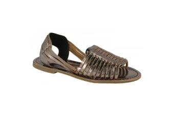 Leather Collection Womens/Ladies Weaved Slingback Sandals (Pewter Leather)