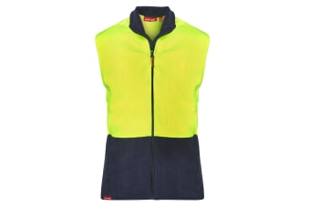 Hard Yakka Men's Hi-Vis Two Tone Polar Fleece Vest (Yellow/Navy, Size 2XL)