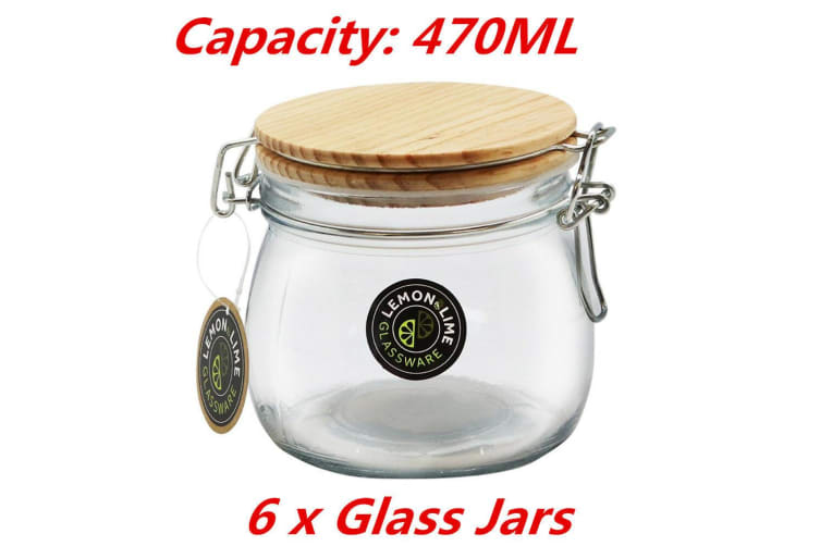 6 x 470ML Round Food Storage Jar Glass Jars Canister Container Wooden Clip Lock Lid