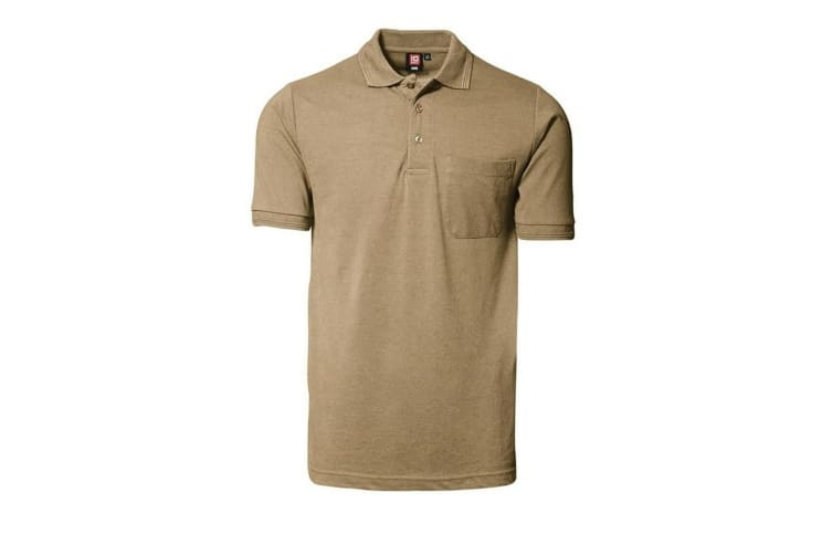 ID Mens Classic Short Sleeve Pique Regular Fitting Polo Shirt With Pocket (Sand) (XL)
