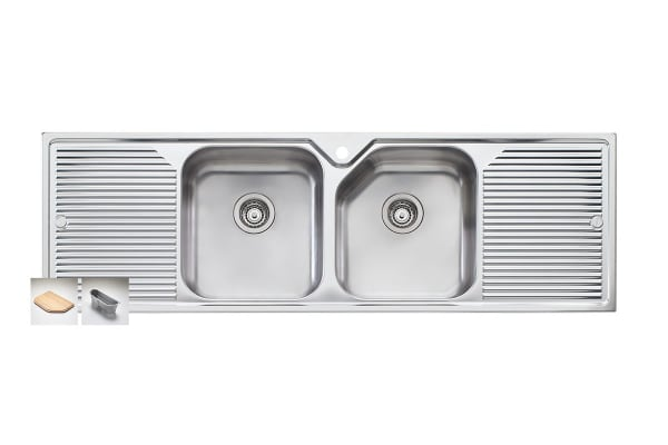 Oliveri Nu-Petite Double Bowl Topmount Sink With Double Drainer (NP653-1TH)