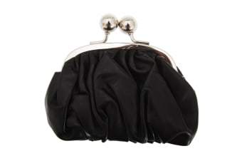 Womens/Ladies Faux Leather Coin Purse With Metal Clasp (Black) (One Size)
