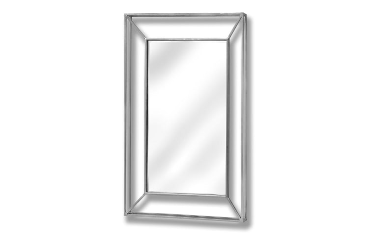 Hill Interiors Large Framed Design Pronounced Silver Wall Mirror (Silver) (H10.5 x W25 x D1.8cm)