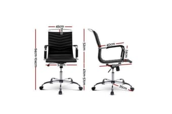Artiss Eames Replica PU Leather Office Chair Executive Work Computer Seating Black