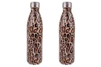 2x Oasis 500ml Double Wall Insulated Drink Water Bottle Vacuum Flask Leopard