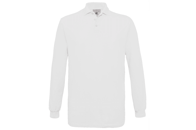 B&C Mens Safran Long Sleeve Cotton Polo Shirt (White) (3XL)